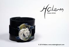 Leather cuff bracelet, can be custom made from your size, horse pictures or the horse of your dreams Horse Pictures, Leather Cuffs, Glass Jewelry, Glass Art, Horses, Dreams, Sculpture, Bracelet, Tableware