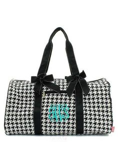 Personalized Houndstooth Large Quilted Duffel Bag - Black & White