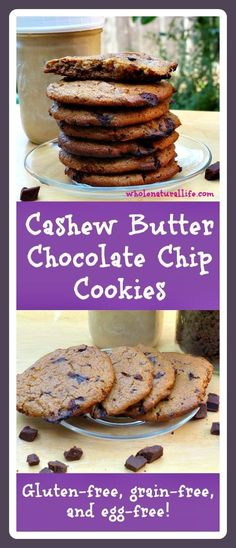 These cashew butter chocolate chip cookies are gluten-free, grain-free and egg-free. Do you miss chocolate chip cookies? Try this healthy alternative today!