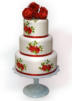 Painted Roses Wedding Cake