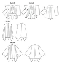 Butterick B5759 Line Art For Kimono Sleeve Variations Pattern Jacket Classic Set Sewing Library
