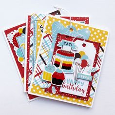"""Birthday Cards by Dorymar Perez for #EchoParkPaper featuring the """"Magical Birthday Boy"""" Collection Kids Birthday Cards, Handmade Birthday Cards, Boy Birthday, Echo Park Paper, Boy Cards, Color Pallets, Mini Books, Fun Projects, I Card"""