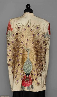 1930's embroidered white silk cape (back view)