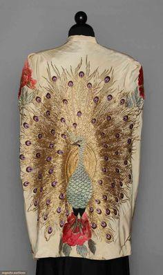 1930's embroidered white silk cape (back view)