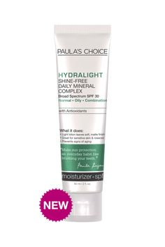 Paula's Choice Hydralight Shine-Free Mineral Complex SPF 30 - Fragrance-free. Light lotion with antioxidants, anti-irritants & mineral sunscreen - suitable for all skin types especially sensitive. Great under makeup. #fragrancefree #unscented #scentfree #crueltyfree