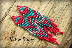 Native American Seed Bead Earrings~Red Turquoise Seed Beaded~Native Indian Fringe~Tribal Bohemian~Boho Beaded Cowgirl~Southwest Seed Bead by NativeStyles on Etsy