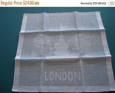 50% OFF SALE Vintage LONDON Souvenir Hankie  Little Hallmark