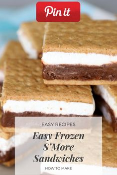 Easy Frozen S'More Sandwiches - Deli Sandwiches Ideen, Fingersandwiches, Deli Sandwich Rezepte, Thanksgiving Sandwich, Chibata Sandw - Gourmet Sandwiches, Sandwich Bar, Party Sandwiches, Bagels Sandwich, Salami Sandwich, Reuben Sandwich, Home Made Cookies Recipe, Paleo Cookie Recipe, Delicious Cookie Recipes
