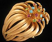 CLEARANCE Vtg PASTELLI Open Bloom Floral Brooch has Long Hanging Petals & 18 Stamen Jutting Up with Prong Set Stones Atop Each One.