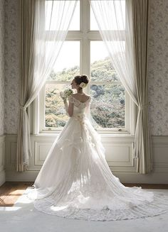 "Love the ""cross"" in the window! Elegant Dresses, Beautiful Dresses, Bridal Dresses, Wedding Gowns, Wedding Birds, Yes To The Dress, Elegant Wedding, Dream Wedding, Dress Collection"