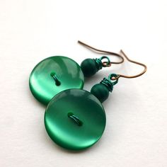 Emerald Green Vintage Button Earrings by buttonsoupjewelry on Etsy, $8.00