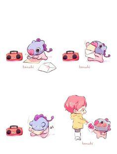 Hobi and Mang💜💙 Jimin, Bts Bangtan Boy, Jhope, Bts Manga, Chibi Bts, Korean Boy, Dibujos Cute, Bts Drawings, Line Friends