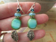 Blue Green  Earrings Czech Glass Earrings Green Earrings  Dangle Earrings Jewelry Silver Leaf Earrings by MillyLillyDesigns on Etsy