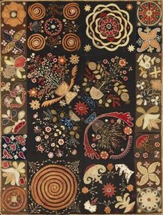 A graphic American Patchwork Rug, 57 x 76 inches. 1810-1820.