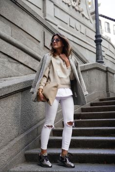 Comfy but cool outfit...love the sneakers!