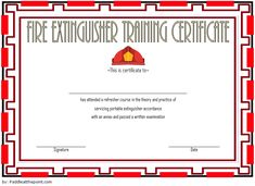 Fire Extinguisher Training Certificate Template 03