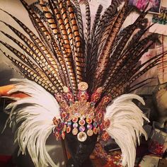 Pheasant samba costume headdress in rhinestones