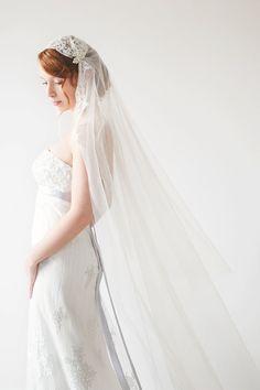 Tulle chapel length veil, lace, bridal cap - $295