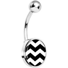 Black White Chevron Belly Ring #piercing #bellyring #bodycandy $7.99