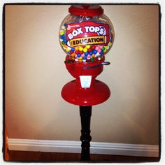 Mrs Vecchio's box top container .. Kids put in their box tops and get a token to buy a gum ball .. So fun. Luv this idea!
