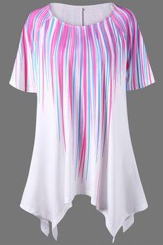 $16.24 Plus Size Stripe Painting Asymmetric T-Shirt - White