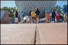"A low view of people walking towards Spaceship Earth in Epcot, Walt Disney World, Orlando, Florida ~ ""Get low, get high, and look all around!' ~ Taking Pictures @ Walt Disney World"