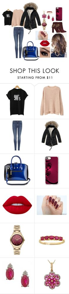 """""""Harvard Girl"""" by joeannamarii on Polyvore featuring MANGO, 7 For All Mankind, Hollister Co., Casetify, Lime Crime, Karl Lagerfeld, Anika and August, Aquazzura and HarvardGirl"""