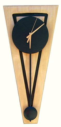 unique pendulum clock | modern,clock,triangle,wall clocks,pendulumclock,wood,hand crafted