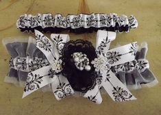 Goddess collection, Toile and Tulle Parisian Chic Toile Wedding Garter by Weddingzilla, $45.00