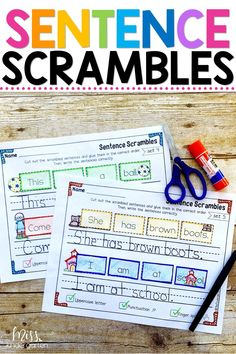 These sight word sentence scramble worksheets are great practice for struggling readers and can be used as activities at home also! Use the printables in your kindergarten centers to reinforce the sight words you are teaching!