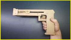 How To Make a  Rubber Band Gun | Cardboard Elastic Band Rubber Band Gun, Door Handles, Guns, Make It Yourself, Projects, How To Make, Diy, Door Knobs, Weapons Guns
