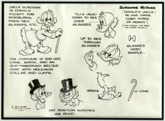 Uncle Scrooge model sheet by Carl Barks
