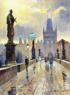 Prague Charles Bridge 02, by Yuriy Shevchuk
