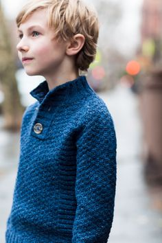 """Wyatt textured raglan henley by Michele Wang. From Brooklyn Tweed's """"BT Kids"""" Collection. Photographed by Jared Flood."""