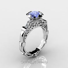 Caravaggio 14K White Gold 1.0 Ct Light Blue Ceylon by artmasters