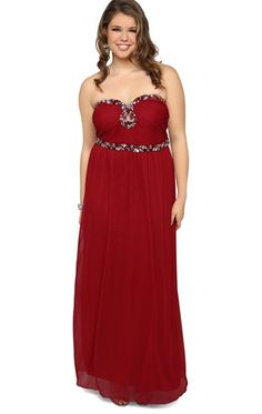 Plus Size Prom Dress with Strapless Stone Neckline and Keyhole Cutout Definitely could be my 2nd choice! $99.90