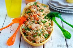 Stir-fry rice with shrimp, vegetables & soy lime sauce. I would replace the white rice with quinoa.