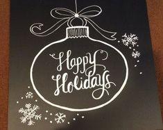 Merry Christmas Chalk Art Print Chalkboard by LilyandVal on Etsy Weihnachts Deko Blackboard Art, Chalkboard Lettering, Chalkboard Print, Chalkboard Designs, Chalkboard Ideas, Noel Christmas, Christmas Signs, Christmas Decorations, Xmas