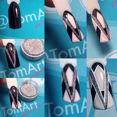 Trendy Nails Art Paso A Paso Nailart Tutorials Ideas Trendy Nail Art, Stylish Nails, Diy Nails, Glitter Nails, Love Nails, Pretty Nails, Geometric Nail, Nagel Gel, Fabulous Nails