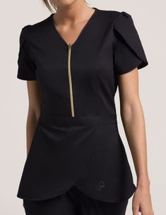 Tulip Top in Black is a contemporary addition to women's medical scrub outfits. Shop Jaanuu for scrubs, lab coats and other medical apparel. Dental Scrubs, Medical Scrubs, Cute Scrubs, Scrubs Outfit, Black Scrubs, Lab Coats, Medical Uniforms, Tunic Tops, Outfits