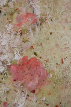 Original Encaustic painting Watermelon Moss  by SwallaStudio