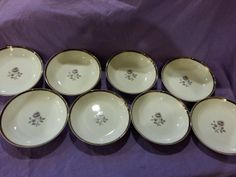 Vintage Royal Song Fine China Moonlight Rose Set of 8 Large Coupe Bowls Rare Pattern 5437-A Excellent Condition