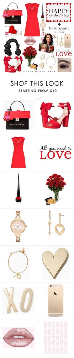 """""""Love - (KateSpade/Christopher Kane) [Happy Valentine's Day]"""" by amber-the-stylist ❤ liked on Polyvore featuring Kate Spade, Christopher Kane, Brewster Home Fashions, Christian Louboutin, Lime Crime and Jill Malek"""