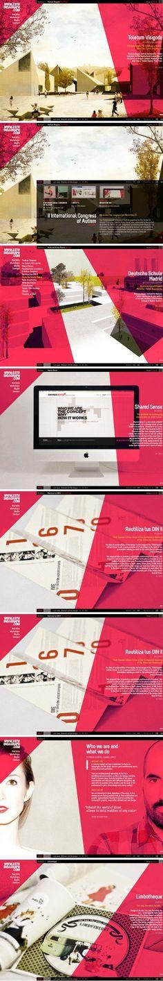 pagina web arquitectura composción visual, foto + planos angulares transparentes, maquetación