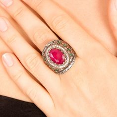 The ZerbapHira Ring with Zircon Emerald Ruby Stones by Rosestyle, $42.50