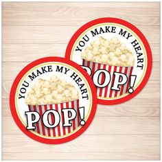 "Popcorn 2"" Round ""You Make My Heart Pop!"" Favor Stickers - Printable"