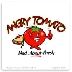 Angry tomato. Mad about fresh. Successful angry looking tomato logo design.
