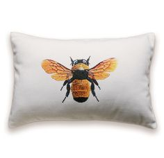 Honey Bee Pillow Cover 12x18 Lumbar Cushion White Orange Gray Black Antique  #Handmade