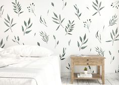 Cute Home Decoration Watercolor Leaves.Cute Home Decoration Watercolor Leaves Watercolor Walls, Green Watercolor, Watercolor Leaves, Nursery Wall Decals, Nursery Decor, Wall Decor, Nursery Room, Bedroom, Boutique Interior