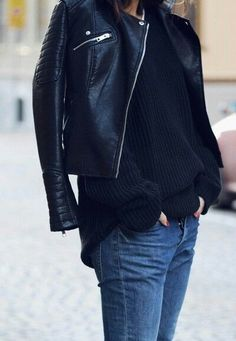 Leather jacket and jeans.